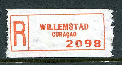 Willemstad, Curacao. An Early Scarce Red Registration Label.