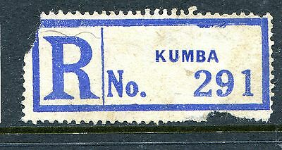 Kumba, Cameroon. An Early Scarce Blue Registration Label.