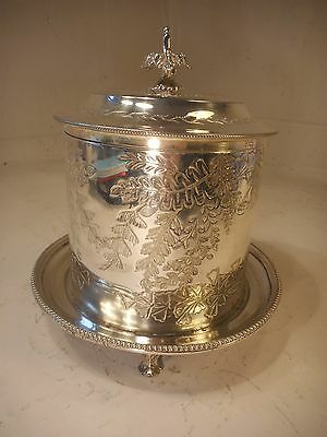 Antique Silver Plate Biscuit Tin , Caddy   , ref 2126