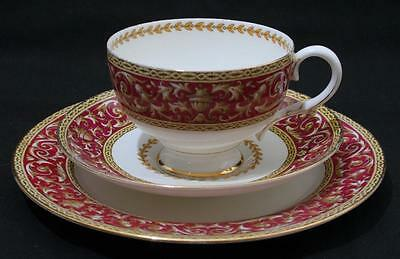 Beautiful Antique Vintage Paragon Footed Teacup Trio Red Scroll Gilt & Floral #2