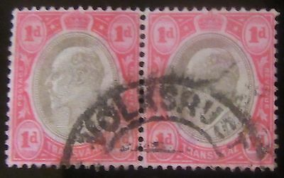 1905 Transvall 1 D Double Used (Volksrust Post Mark)