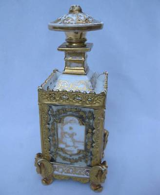 Antique Old Paris Porcelain Napoleonic Perfume Dresser Toilet Water Bottle