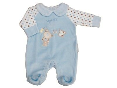 BNWT Baby girls or boys soft velour  squeaky clean sleep suit NB  0-3 3-6 months