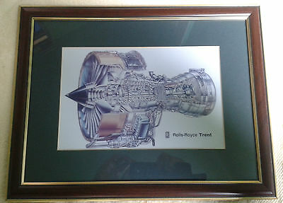 Rolls Royce Trent  Sectional Engine Picture :- Framed With Glass