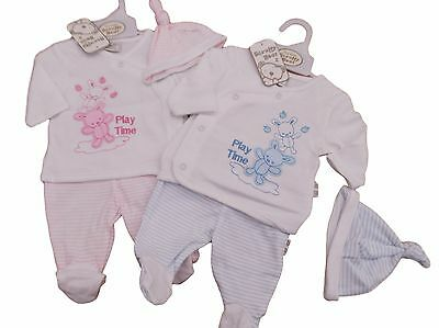 BNWT Baby reborn Premature Preemie Baby Boy or Girl Clothes 3 piece teddy Set