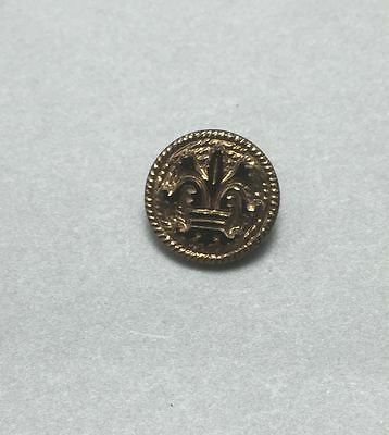 Vintage Antique Black Glass Button with Gold Luster - Art Nouveau
