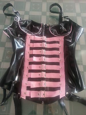Latex Rubber Tights Black and Pink Suit Stylish Waist clip Size XS- XXL