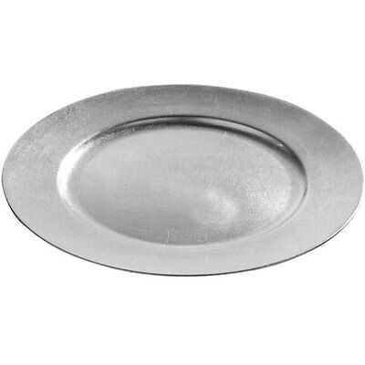 Brand NEW Set Of 4 33cm Decorative Charger Dinner Under Plates - Silver