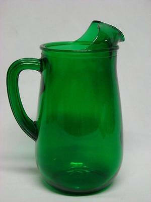 Vintage Green Glass Juice Water Refrigerator Pitcher Jug