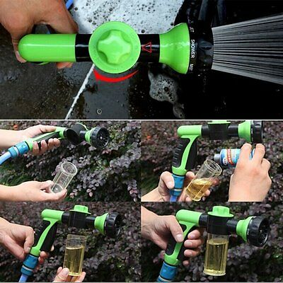 8in1 Spray Pattern Adjustable Water Gun&Soap Dispenser Hose Nozzle Car Wash NEW