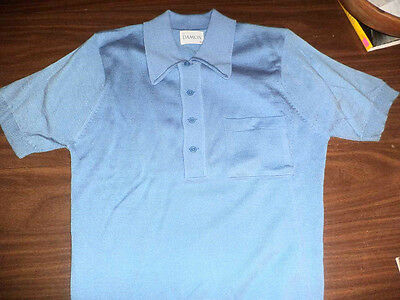 VINTAGE MENS MEDIUM DUO-COLOR SWEATER BLUE BY DAMON CLASSIC ROCKABILLY 50s LOOK!