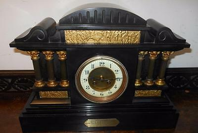 large french slate marbel mantel clock c1900s