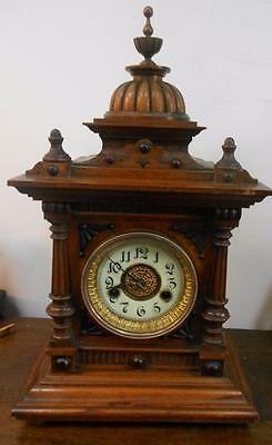 pretty hac walnut cased striking bracket clock c1900s