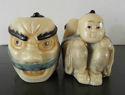 Pair Japanese? Resin Boy & Mask Okimono Figures Figurines Chopstick Rest?