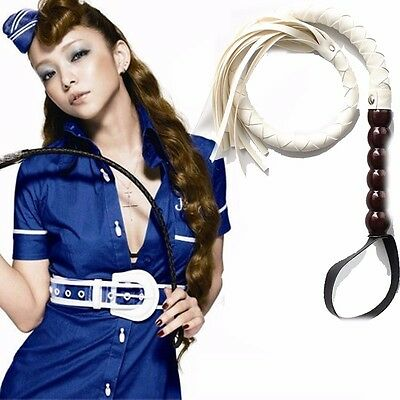 RIDING CROP WHIP Leather Functional Horse Bull Costume Prop Wood Handle roleplay