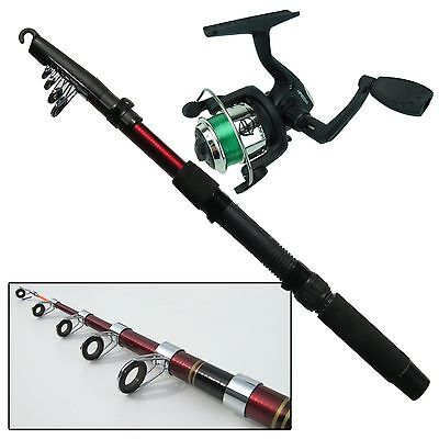 Beginners Childrens Fishing Rod & Reel Set Kit With Line. Travel Fishing Set