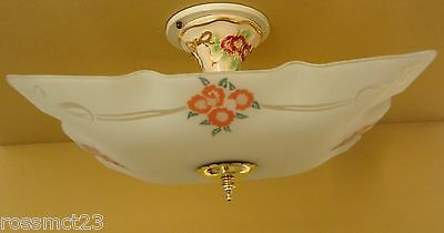 Vintage Lighting rare circa 1950 porcelain and glass fixture