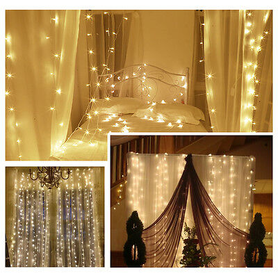 6X3M LED Curtain Light Christmas Wedding Fairy String Hanging Background warm