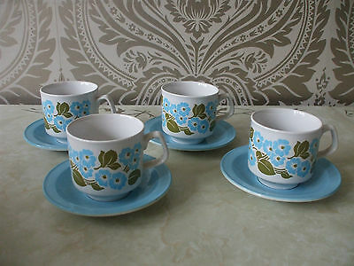 Vintage Retro Tams Pottery Set of 4 Cups & Saucers Blue Floral