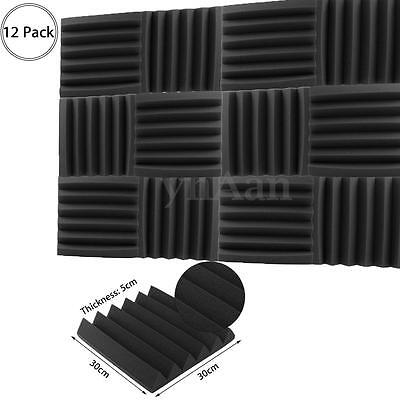 1-12Pcs Acoustic Wedge Foam Tile Wall Panel Charcoal Sound Proofing 5x30x30cm