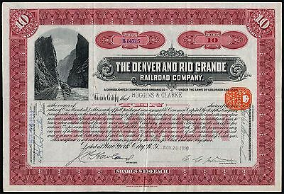 USA: Denver and Rio Grande Railroad Co., 10 shares common stock, 1920