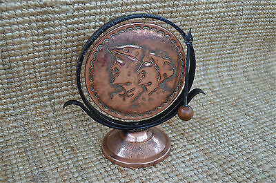 Copper and wrought iron Arts and Crafts dinner gong signed