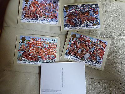 A Full Set Of 5 Post Office Postcards--  The Armada 1588