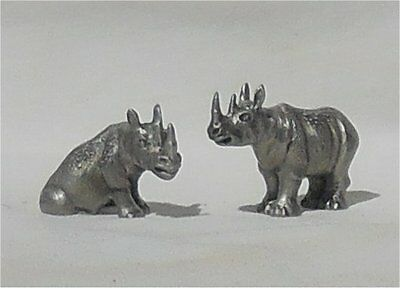 Hudson Pewter Noah's Ark Male & Female Rhino Rhinoceros