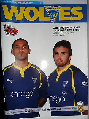 WARRINGTON WOLVES v SALFORD CITY REDS PROGRAMME~12th FEBRUARY 2006
