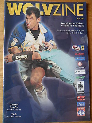 WARRINGTON WOLVES v SALFORD CITY REDS RUGBY LEAGUE PROGRAMME 25th MARCH 2001