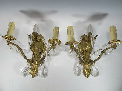 Antique Pair of French Bronze Sconces with Glass Tear Drops - 5995