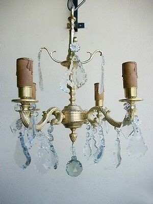 Nice Antique French Bronze Chandelier with Glass Tear Drops - 5947