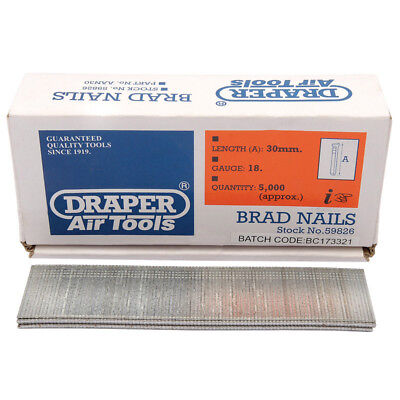5000 Draper 30mm Brad Nails for the 57563 and 83659 Staplers/Nailers