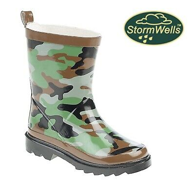 CAMOUFLAGE Print Wellies Boys Kids Welly Boots  Size 4 5 6 7 8 9 10 11 12 13 1 2