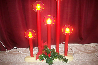 Vintage Candolier Candlebra 5 Red Candle Lights with Halos Christmas Decor