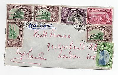 1957 TRINIDAD & TOBAGO QEII Air Mail Cover PORT OF SPAIN To LONDON