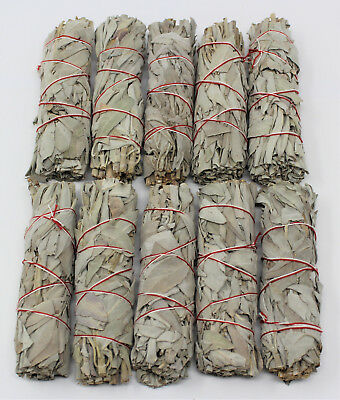 "Lot 10 White Sage Smudge Stick 4"" to 5"" Wands House Cleansing Negativity Removal"