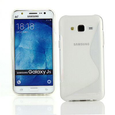 TPU Gel Case+Car Charger+more for Samsung Galaxy J5-Clear S Line Wave