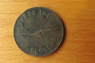 Canada Halfpenny Token Coin 1800's About VF Grade Speed The Plough Scarce.