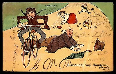 Sixpence an hour bicycle cycling comic antique postcard 1900s Tom Browne