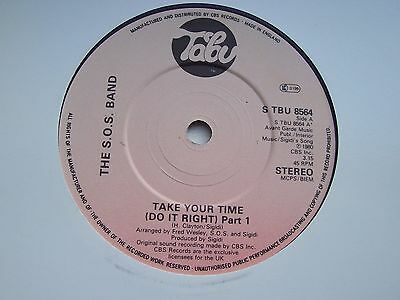 The S.o.s. Band, Take Your Time (Do It Right). Original 1980 Tabu Single
