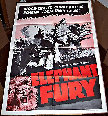 Elephant Fury (1956) German Thriller * Killer Animals Orig 27X41 1-Sheet Poster