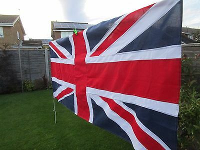 """Vintage Ex Army stitched UNION JACK FLAG BRITISH MADE Approx 7ft x3ft 5"""" quality"""