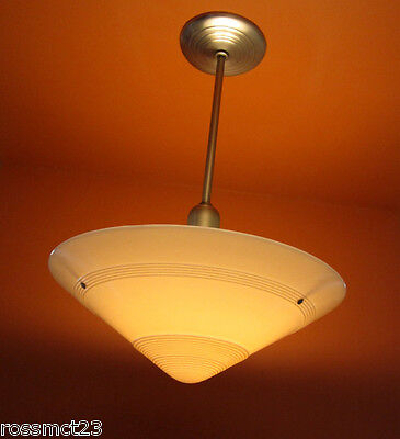Vintage Lighting 1930s Art Deco pendant light   Huge 20 wide shade   500W