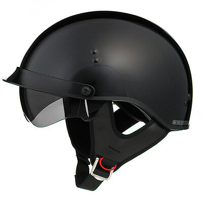 New Gloss Black Cruiser Motorcycle Shorty Half Helmet Retractable Visor Small