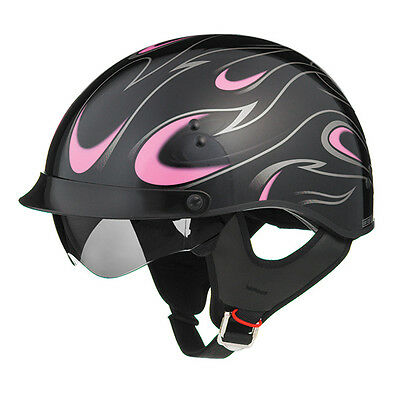New Black Pink Flame Motorcycle Shorty Half Helmet Retractable Visor Xsmall
