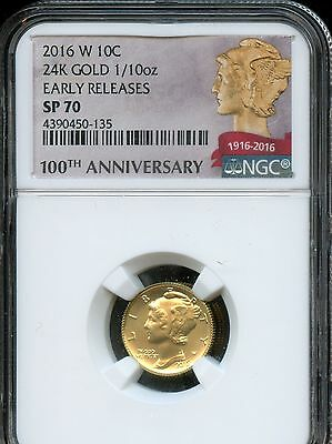2016 W NGC SP70 First Releases Gold 100th Anni. Mercury Dime .9999