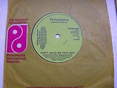 Harold Melvin & The Bluenotes, Don't Leave Me This Way / To Be Free. 1977 Single