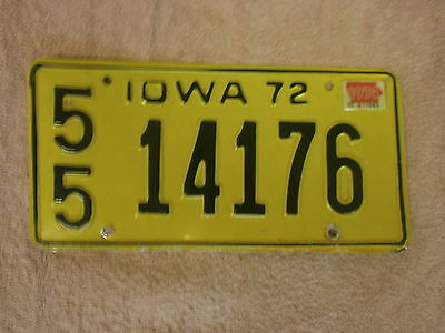 American Iowa Vintage 1972 # 55 14176 Rare Number License Plate