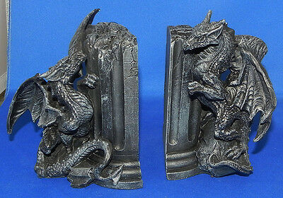 Dragon Resin Bookends Medieval Mythical Fantasy w/Box D&D